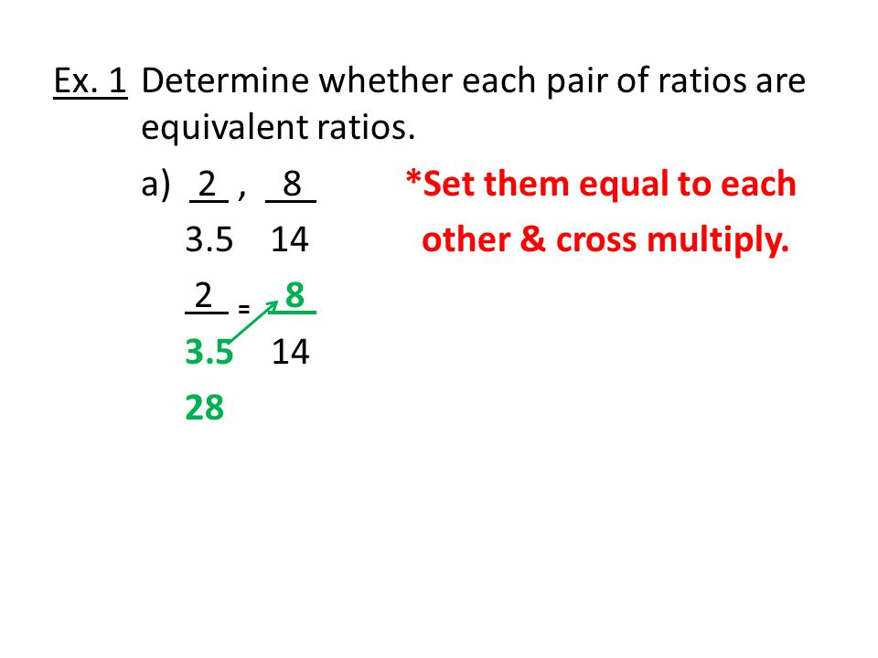 Ex.1Determine whether each pair of ratios are equivalent ratios.