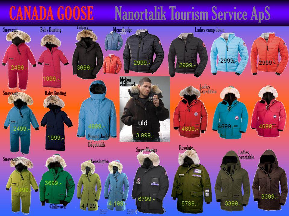 CANADA GOOSE Nanortalik Tourism Service ApS uld Snowsuit Baby Bunting Chilliwack Nomad Jacket Iloqutitalik Calgary Mens LodgeLadies camp down Ladies E
