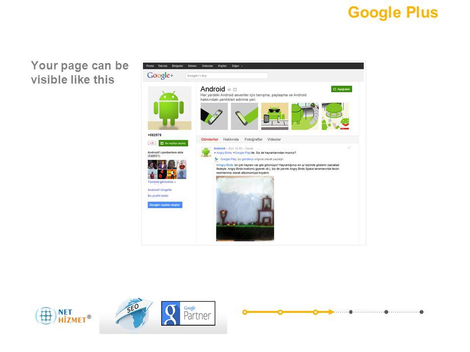 Pazarlamanızı sosyalleştirin.Bir + ekleyin Your page can be visible like this Nedir.