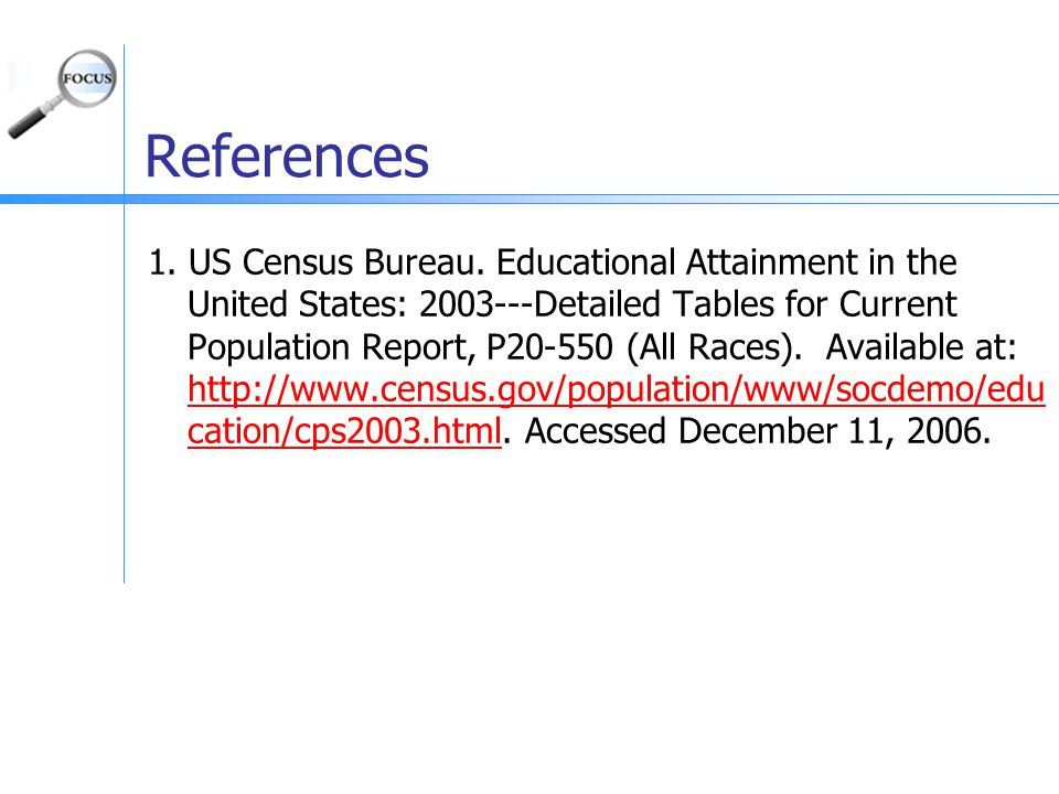 References 1. US Census Bureau.