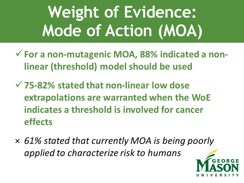 For a non-mutagenic MOA, 88% indicated a non- linear (threshold) model should be used 75-82% stated that non-linear low dose extrapolations are warran