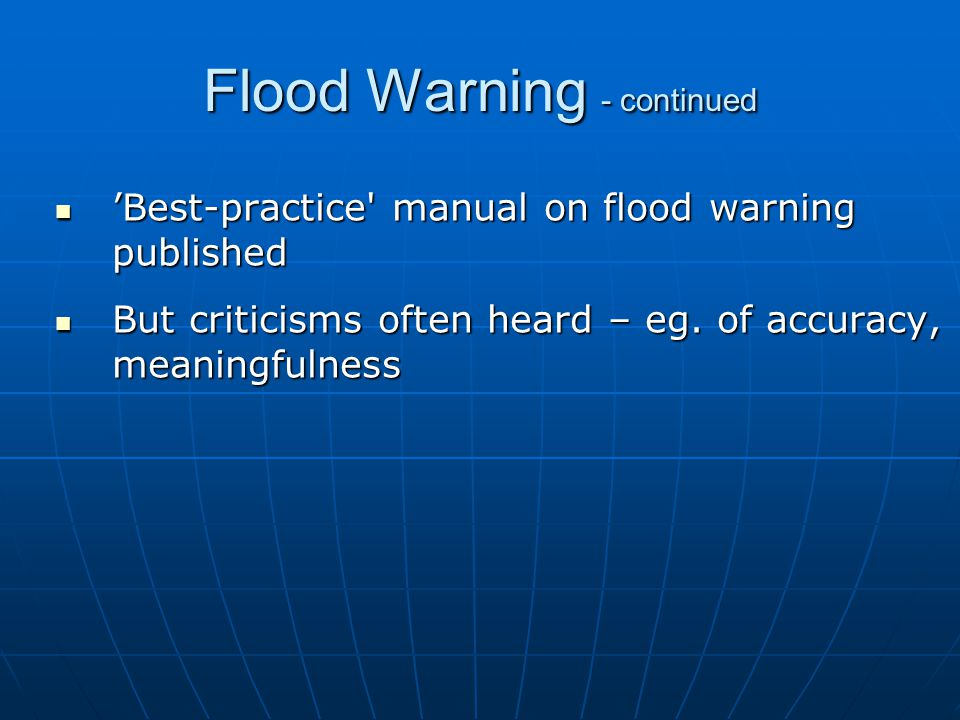 Some Generalisations about Flood Warning Services in Australia
