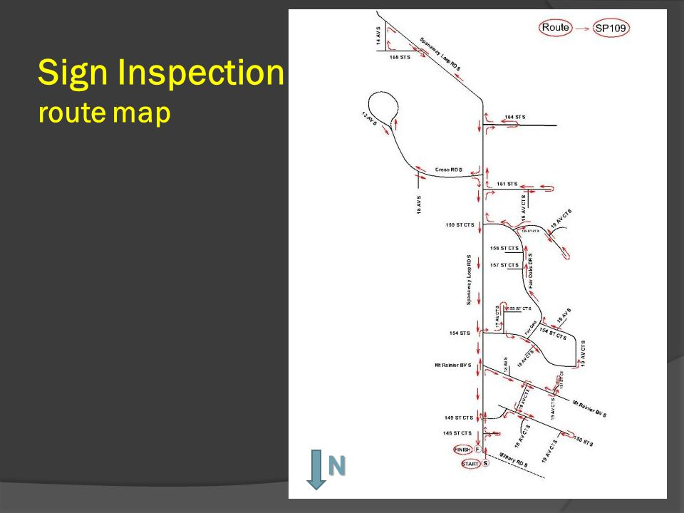 Sign Inspection route map N