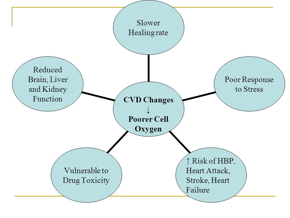 CVD Changes ↓ Poorer Cell Oxygen Slower Healing rate Poor Response to Stress ↑ Risk of HBP, Heart Attack, Stroke, Heart Failure Vulnerable to Drug Tox