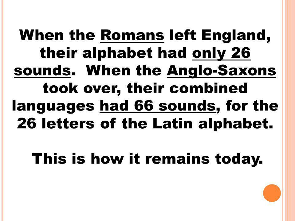 When the Romans left England, their alphabet had only 26 sounds. When the Anglo-Saxons took over, their combined languages had 66 sounds, for the 26 l