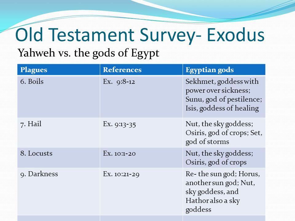Old Testament Survey- Exodus Yahweh vs. the gods of Egypt PlaguesReferencesEgyptian gods 1. Nile turned to bloodEx. 7:14-25Hapi (also called Apis) the