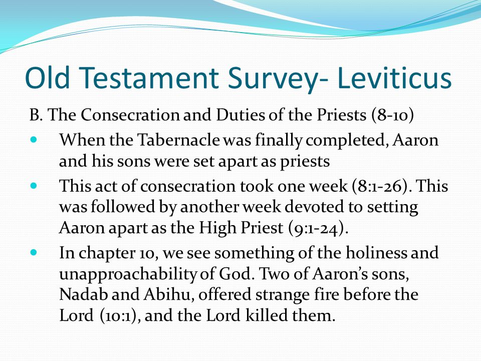 Old Testament Survey- Leviticus A. The Offerings and their regulations (1-7) E. The trespass offering (5:14-6-7) If an individual violated the law by