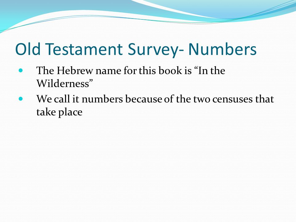 Old Testament Survey- Numbers Moses wrote numbers to chronicle Israel's forty years of wandering in the wilderness. He probably wrote the book a year