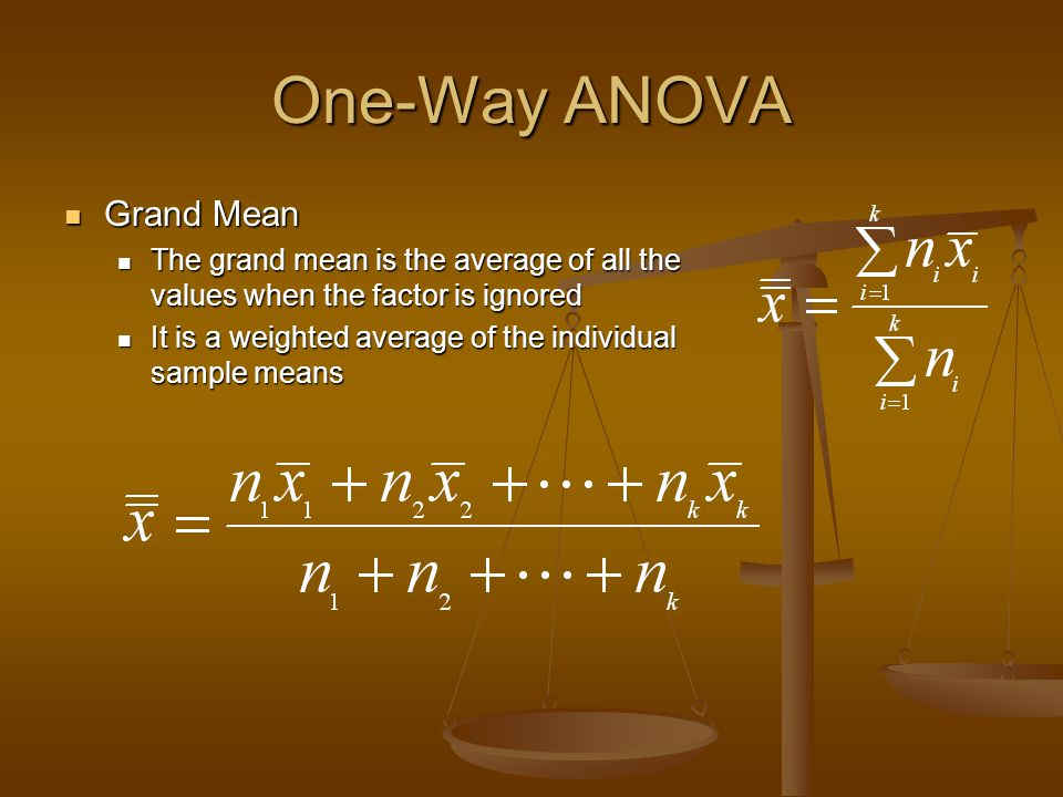One-Way ANOVA Grand Mean Grand Mean The grand mean is the average of all the values when the factor is ignored The grand mean is the average of all th