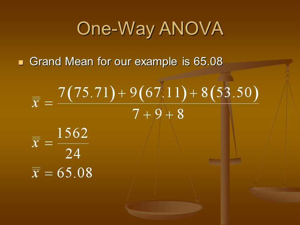 One-Way ANOVA Grand Mean for our example is 65.08 Grand Mean for our example is 65.08