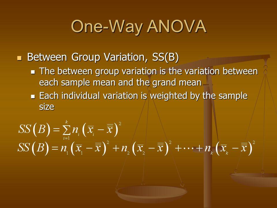 One-Way ANOVA Between Group Variation, SS(B) Between Group Variation, SS(B) The between group variation is the variation between each sample mean and