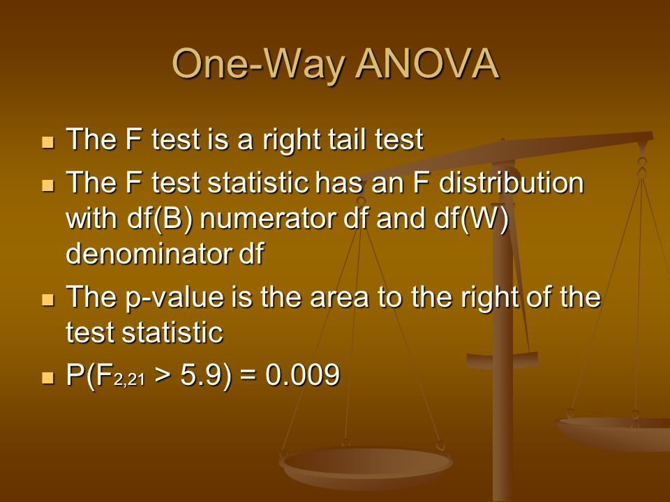 One-Way ANOVA The F test is a right tail test The F test is a right tail test The F test statistic has an F distribution with df(B) numerator df and d