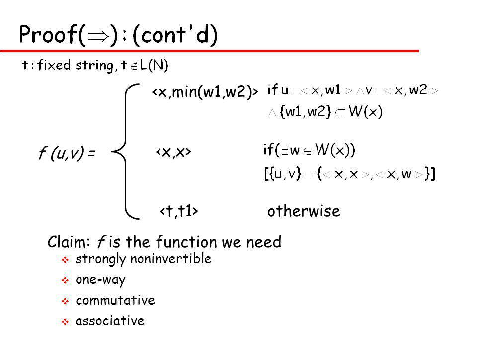 v strongly noninvertible v one-way v commutative v associative f (u,v) = otherwise Claim: f is the function we need