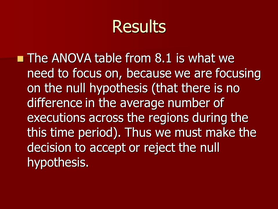 Results The ANOVA table from 8.1 is what we need to focus on, because we are focusing on the null hypothesis (that there is no difference in the avera