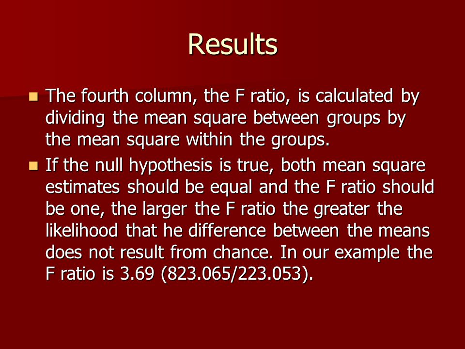 Results The fourth column, the F ratio, is calculated by dividing the mean square between groups by the mean square within the groups. The fourth colu