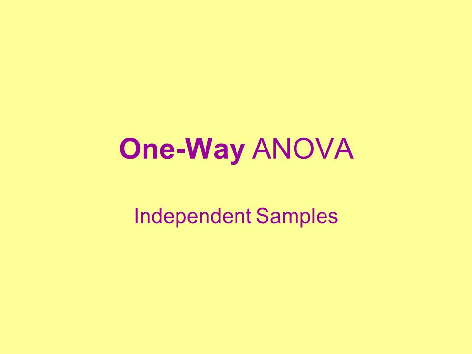 One-Way ANOVA Independent Samples