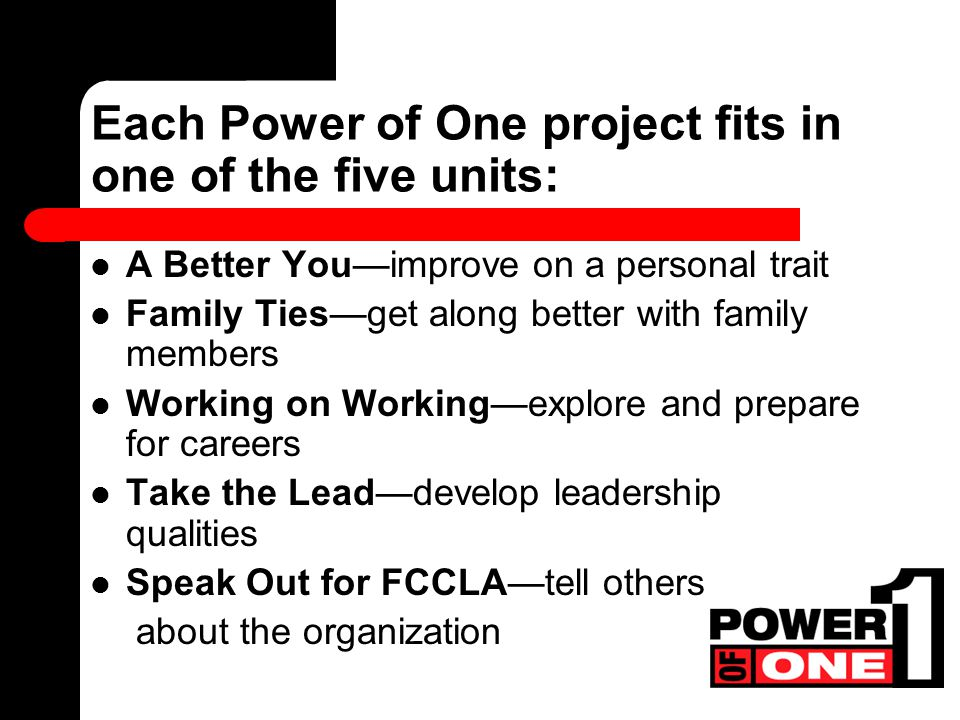 Each Power of One project fits in one of the five units: A Better You—improve on a personal trait Family Ties—get along better with family members Working on Working—explore and prepare for careers Take the Lead—develop leadership qualities Speak Out for FCCLA—tell others about the organization