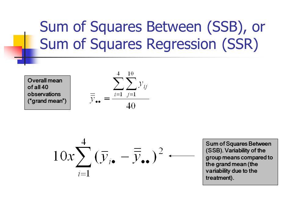 Total Sum of Squares (SST) Total sum of squares(TSS).