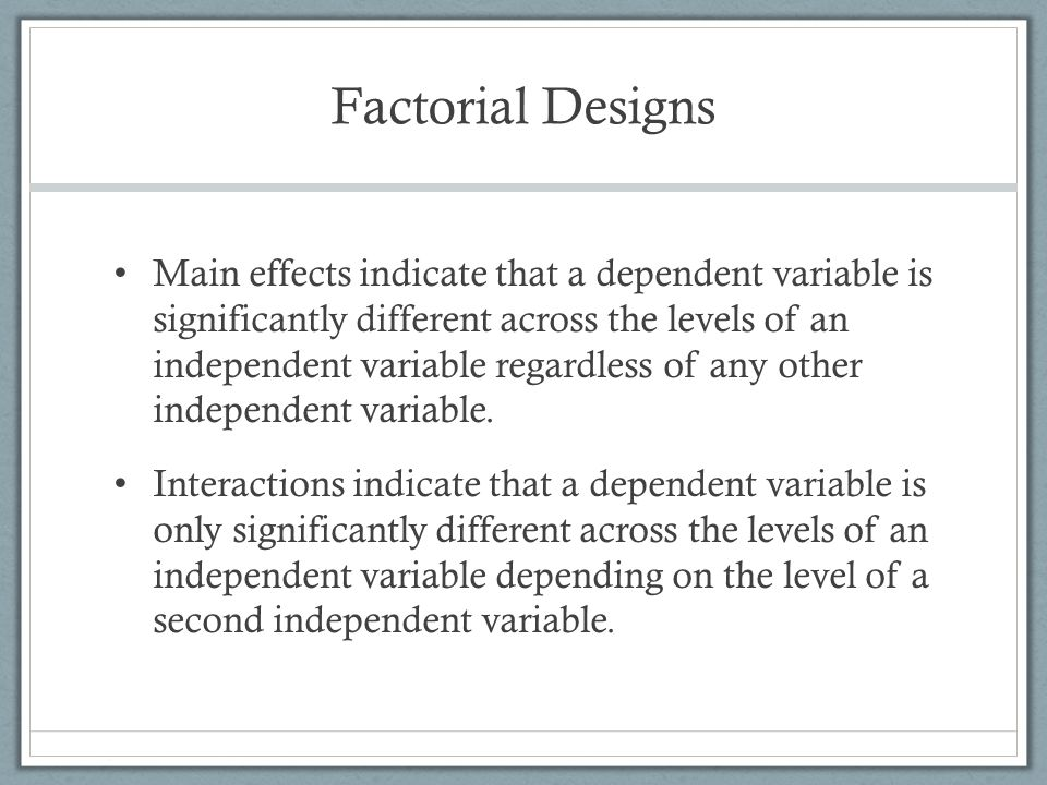Within-Subjects Designs Between-subjects designs include all of the designs we have discussed so far Within-subjects or repeated measures designs are those in which a participant serves in more than one condition of a study.
