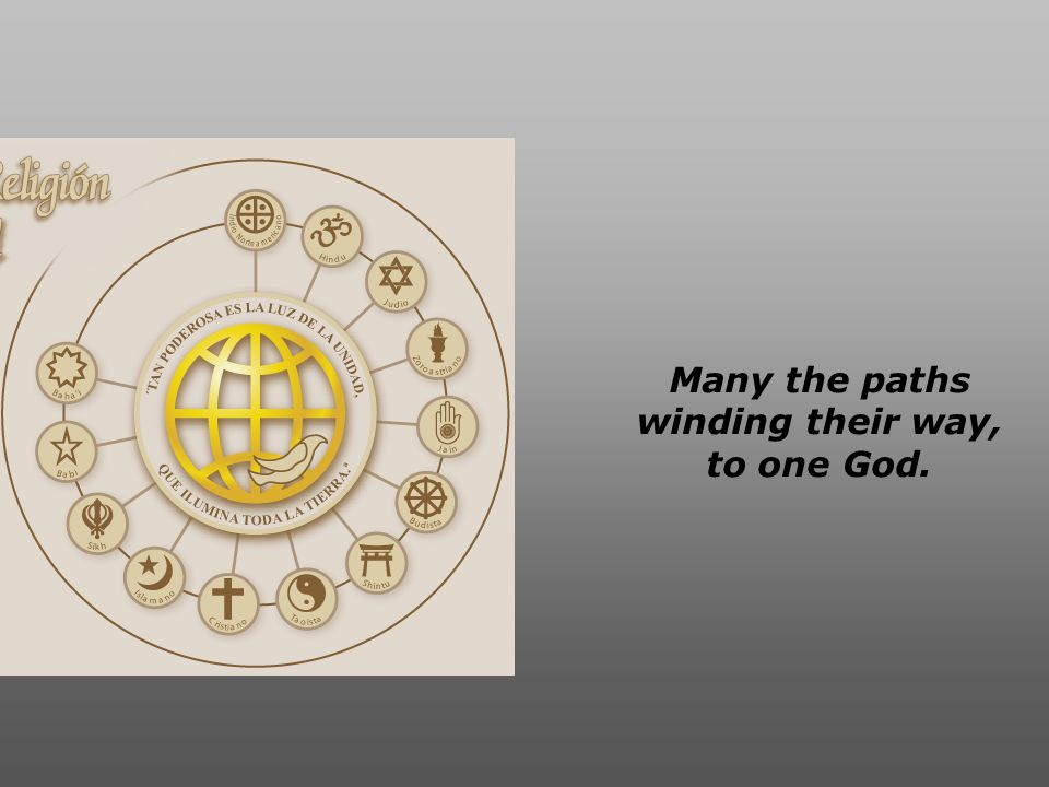 Many the ways all of us pray, to one God.