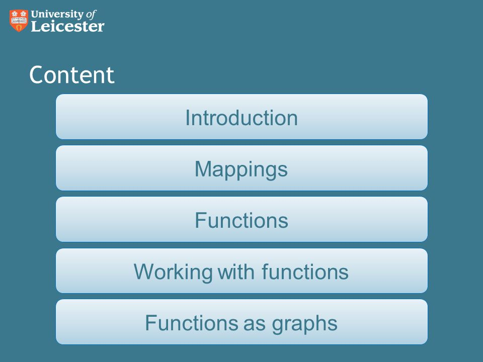 Content FunctionsIntroductionFunctions as graphsWorking with functionsMappings