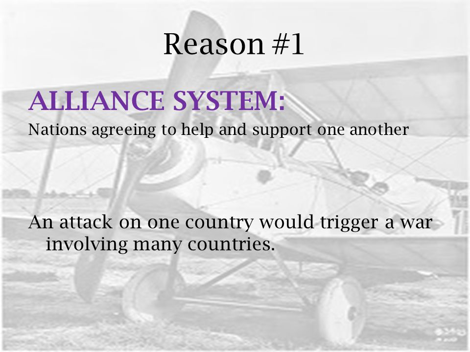 Reason #1 ALLIANCE SYSTEM: Nations agreeing to help and support one another An attack on one country would trigger a war involving many countries.