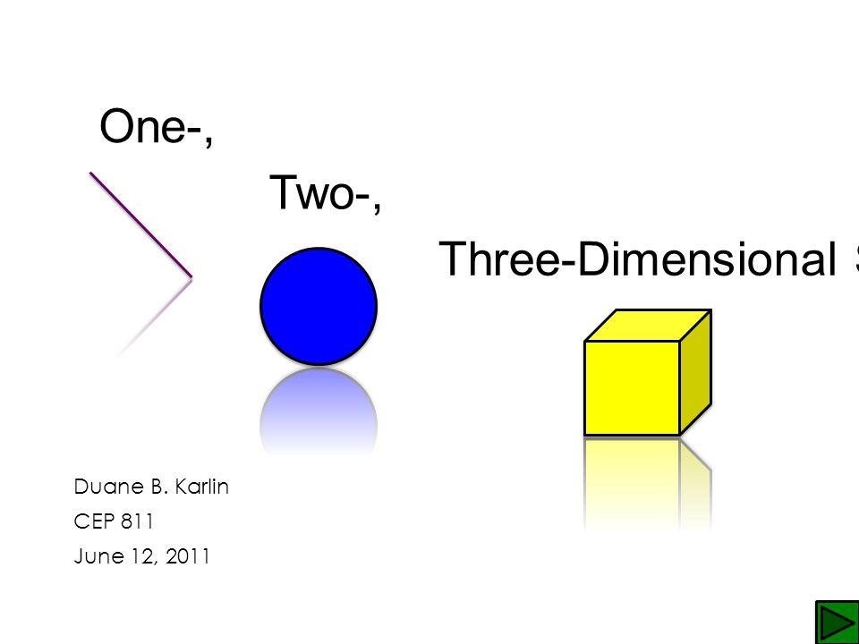One-, Two-, Three-Dimensional Shapes Duane B. Karlin CEP 811 June 12, 2011