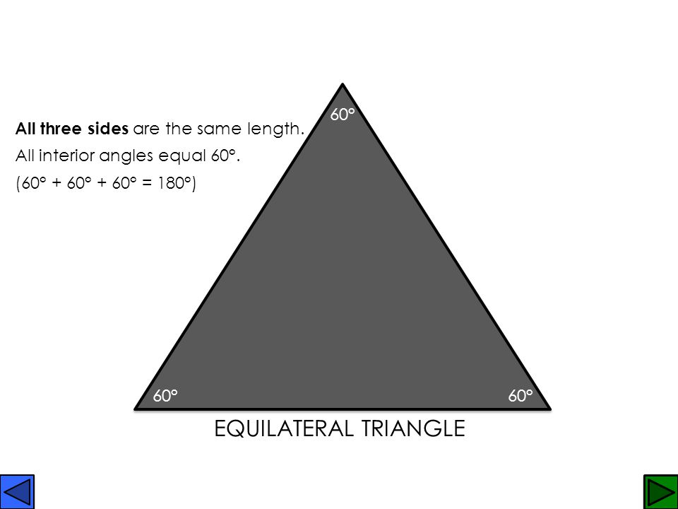 EquilateralIsoscelesScalene RightAcuteObtuse 6 types of TRIANGLES. Click on a shape to learn more, or learn about AREA.AREA
