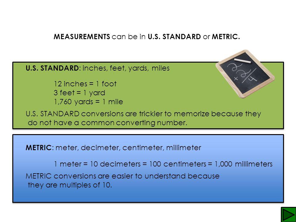 MEASUREMENTS c an be in U.S.STANDARD o r METRIC. U.S.