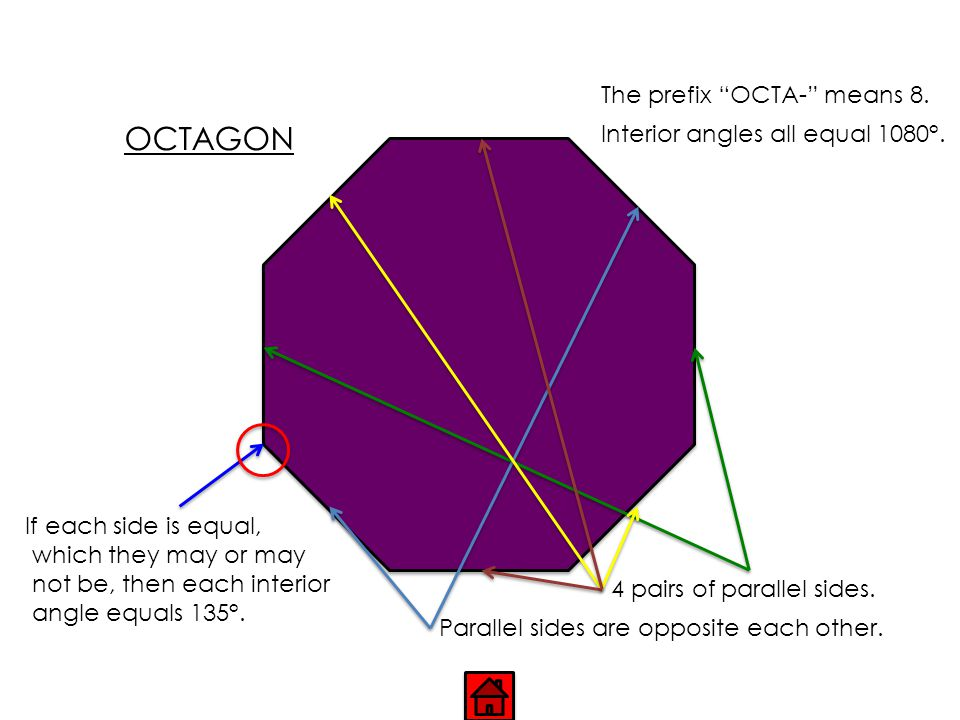 "HEXAGON Parallel sides are opposite each other. The prefix ""HEXA-"" means 6. Interior angles all equal 720°. 3 pairs of parallel sides. If each side is"