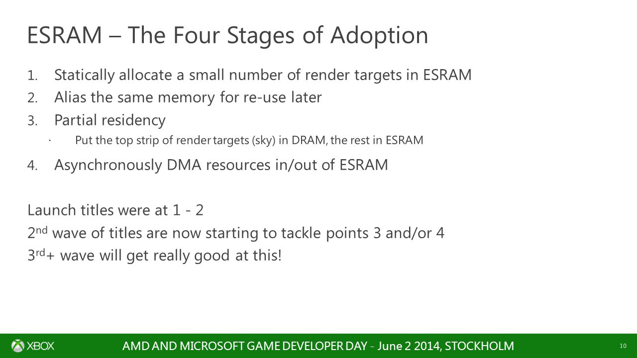 AMD AND MICROSOFT GAME DEVELOPER DAY - June 2 2014, STOCKHOLM 10 1. Statically allocate a small number of render targets in ESRAM 2. Alias the same me