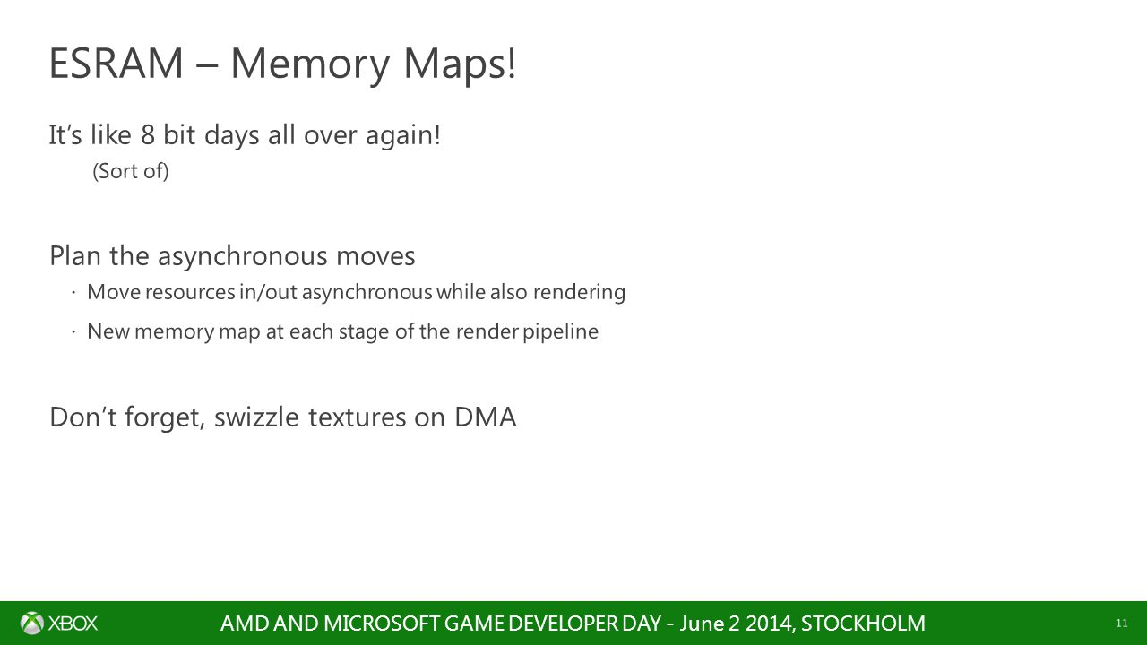 AMD AND MICROSOFT GAME DEVELOPER DAY - June 2 2014, STOCKHOLM 11 It's like 8 bit days all over again! (Sort of) Plan the asynchronous moves  Move res