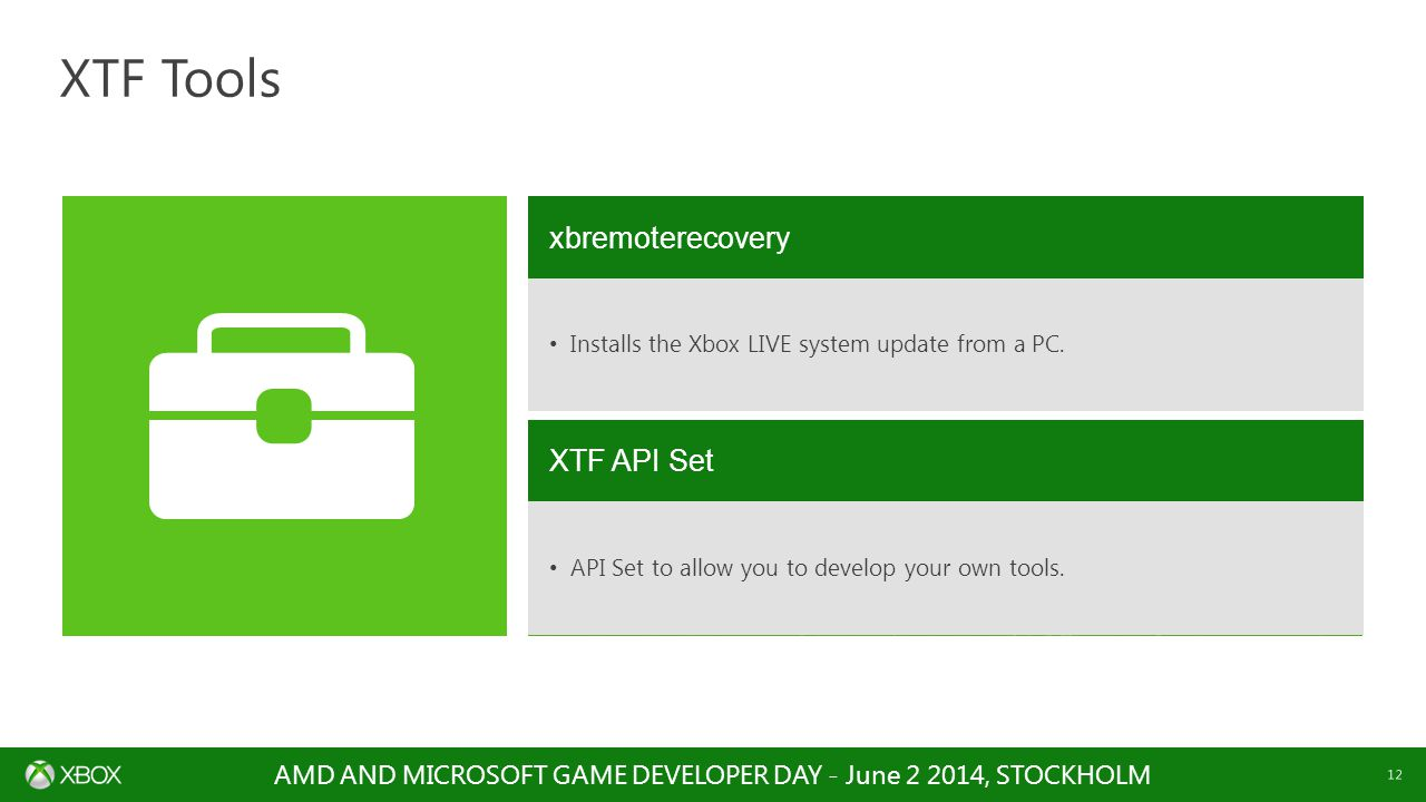 AMD AND MICROSOFT GAME DEVELOPER DAY - June , STOCKHOLM 12 XTF Tools xbremoterecovery Installs the Xbox LIVE system update from a PC.