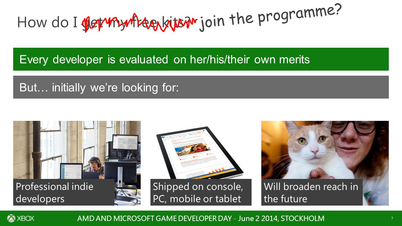 AMD AND MICROSOFT GAME DEVELOPER DAY - June 2 2014, STOCKHOLM 7 How do I get my free kits.