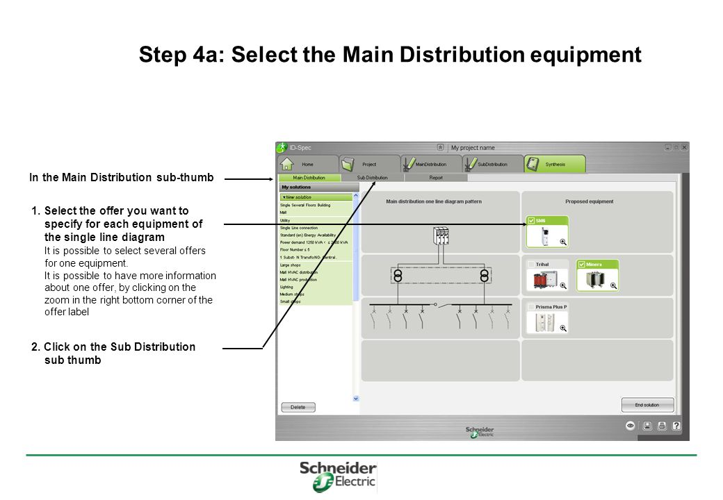 Step 4a: Select the Main Distribution equipment In the Main Distribution sub-thumb 1.