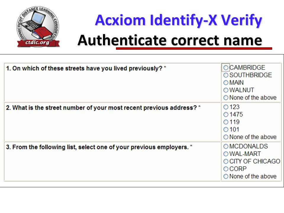 Acxiom Identify-X Verify Authenticate correct name