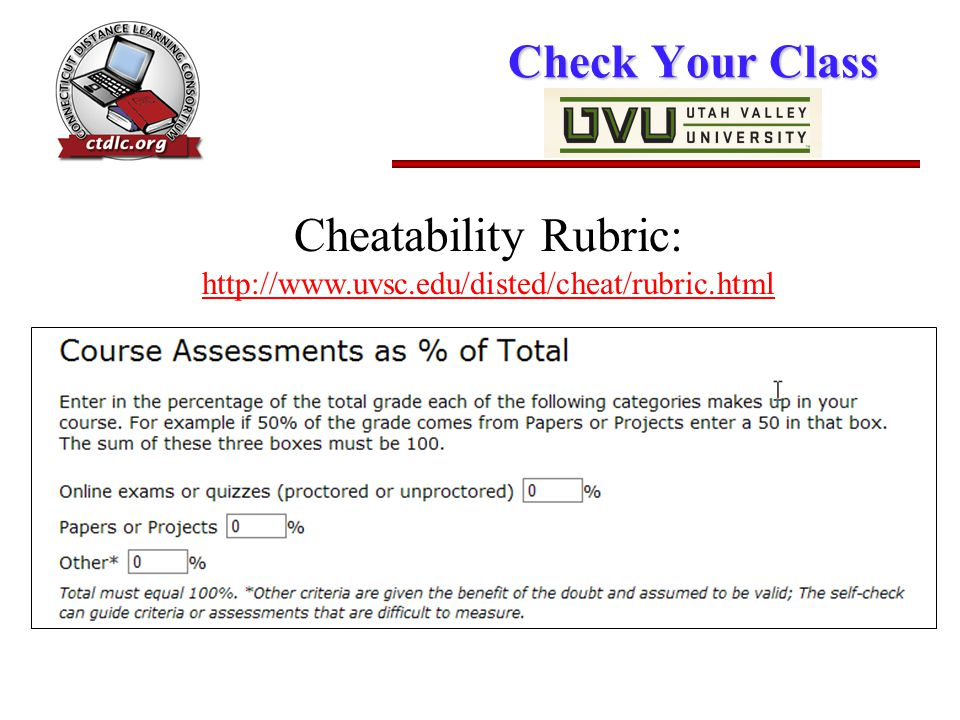 Check Your Class Cheatability Rubric: http://www.uvsc.edu/disted/cheat/rubric.html