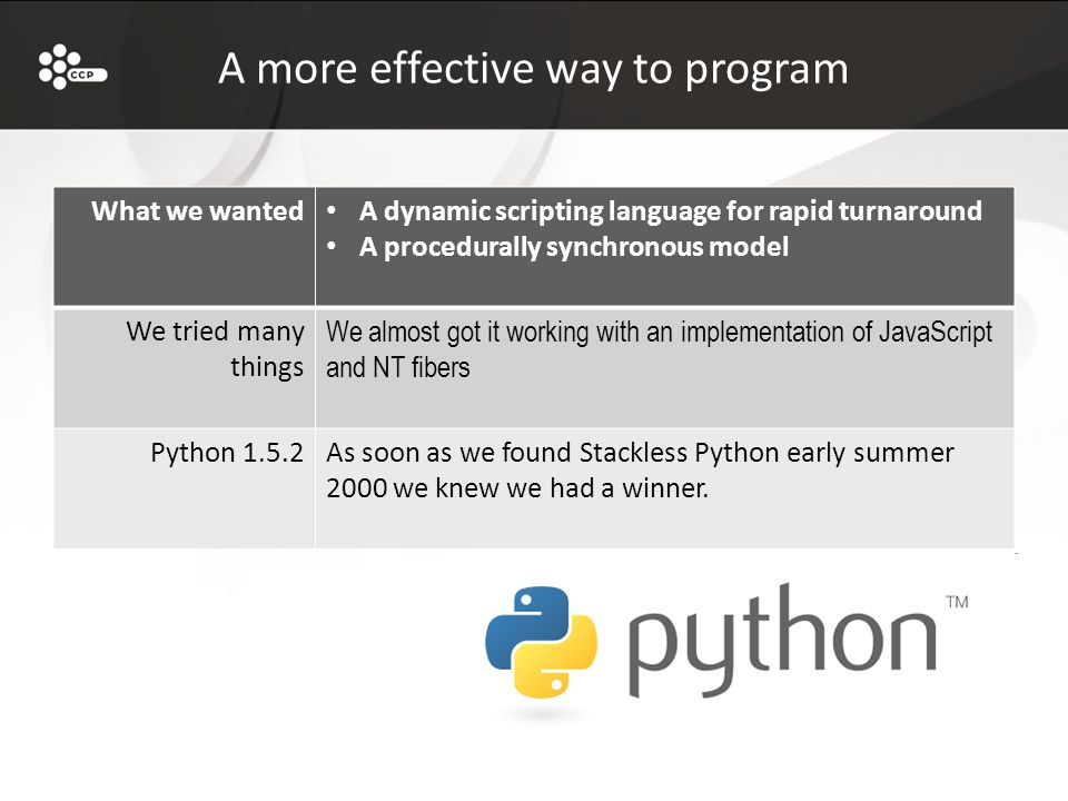 A more effective way to program What we wanted A dynamic scripting language for rapid turnaround A procedurally synchronous model We tried many things We almost got it working with an implementation of JavaScript and NT fibers Python 1.5.2As soon as we found Stackless Python early summer 2000 we knew we had a winner.