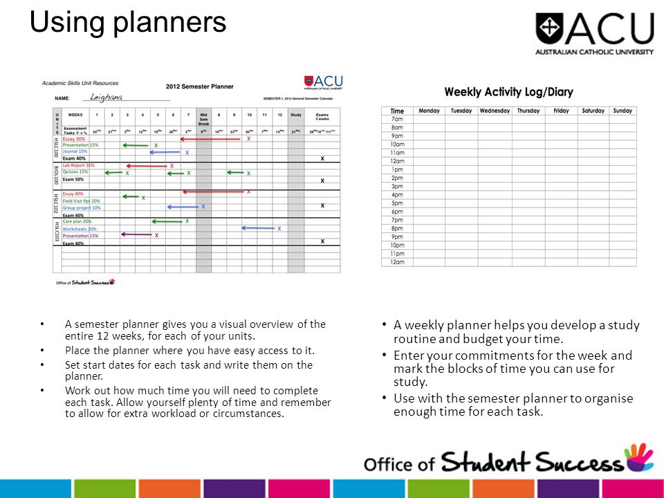 Using planners A semester planner gives you a visual overview of the entire 12 weeks, for each of your units. Place the planner where you have easy ac