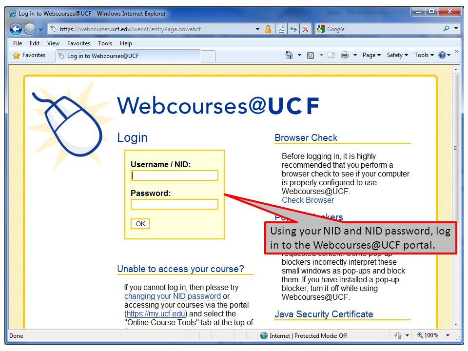 Using your NID and NID password, log in to the Webcourses@UCF portal.
