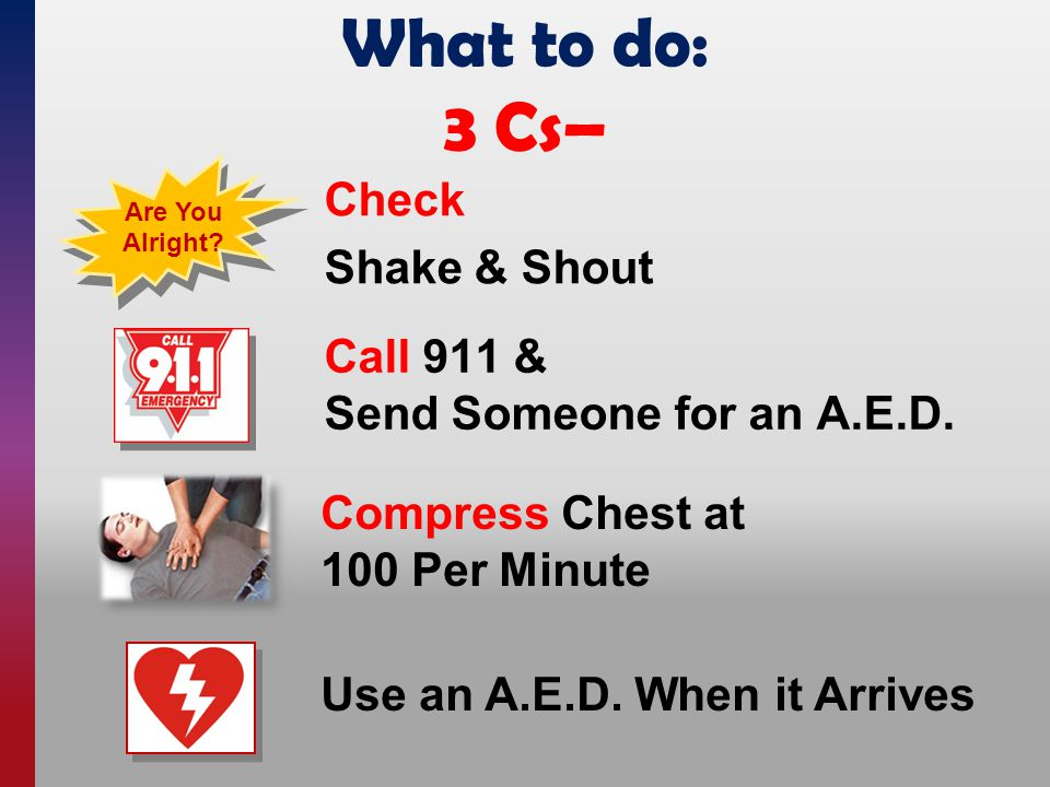 What to do: 3 Cs– Compress Chest at 100 Per Minute Call 911 & Send Someone for an A.E.D. Are You Alright? Check Shake & Shout Use an A.E.D. When it Ar