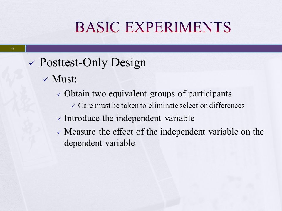 Goal is to Match People on a Participant Characteristic Matched to either the dependent measure or a variable that is strongly related to the dependent variable 17