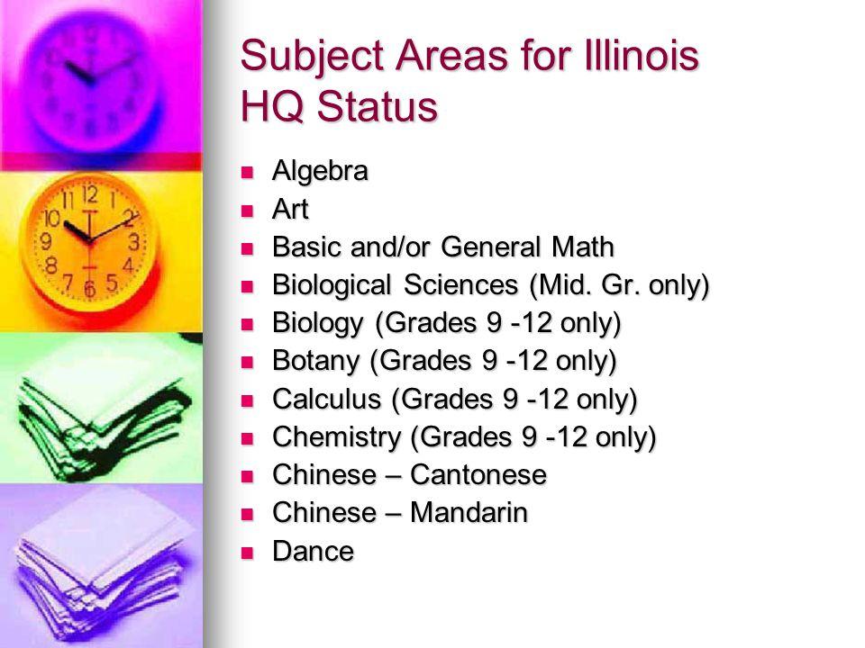 Subject Areas for Illinois HQ Status Algebra Algebra Art Art Basic and/or General Math Basic and/or General Math Biological Sciences (Mid. Gr. only) B