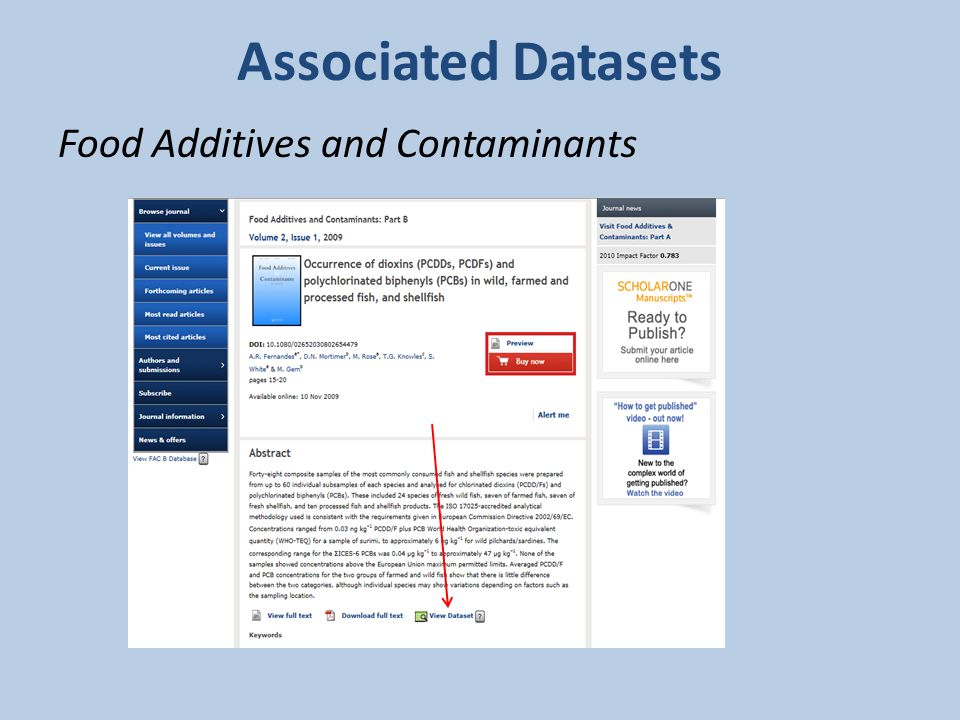 Associated Datasets Food Additives and Contaminants