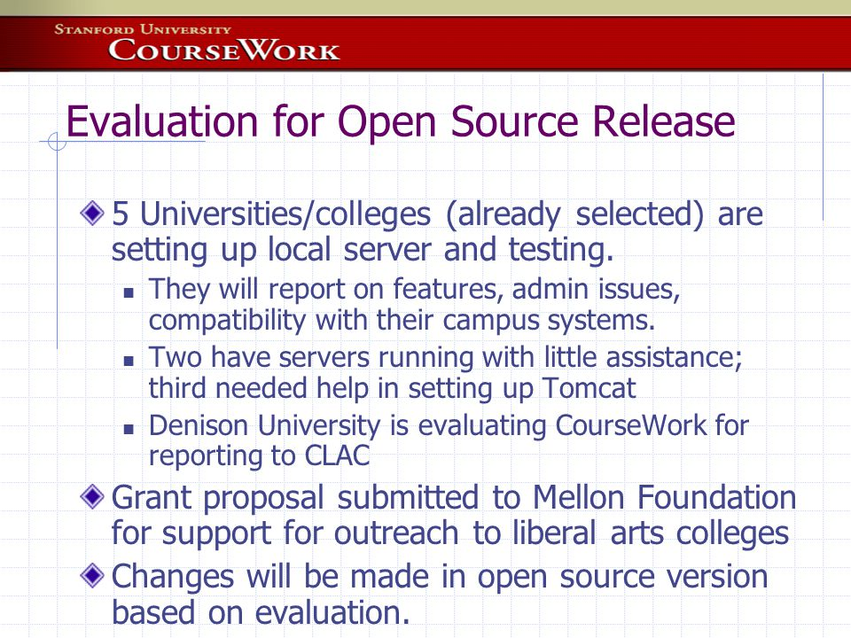 What's Happening - Developers starting to collaborate First goal is to use each others' tools in proof- of-concept demonstrations OKI users working together (It takes more than APIs) Umich CHEF Indiana OnCourse Stanford CourseWork MIT Stellar Tufts Concept Mapping Tool