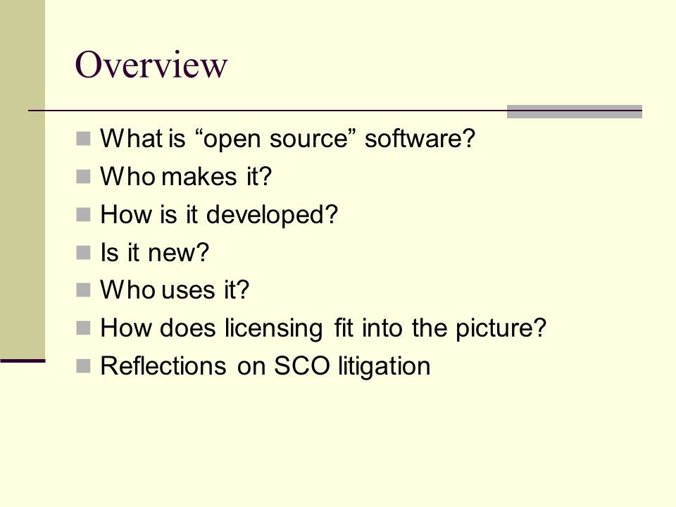 Licensing: the Force behind open source Free and open is not: Public domain Copyright first sale Shareware or freeware Licensing makes it work Control over use Risk shifting To stay free, software must be copyrighted and licensed. Debian GNU/Linux Group