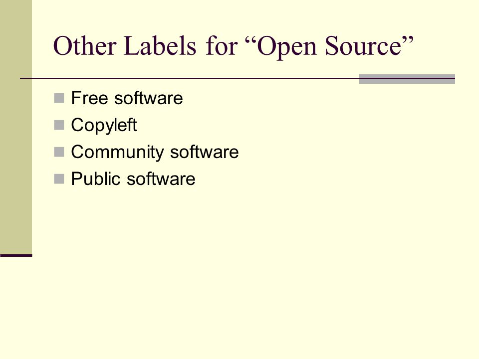 GNU General Public License Key terms: Unlimited right to run program Unlimited access to source code Unlimited right to distribute verbatim copies May create derivatives IF you agree to make the derivatives free What is a derivative When does free mean no charge .