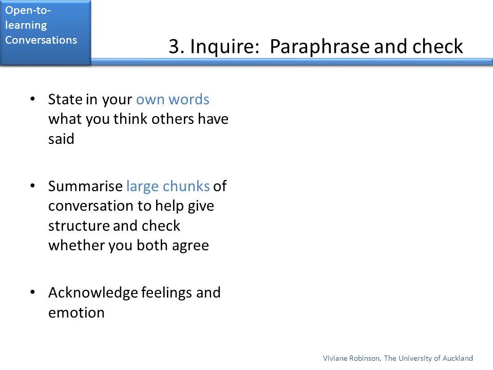 3. Inquire: Paraphrase and check State in your own words what you think others have said Summarise large chunks of conversation to help give structure