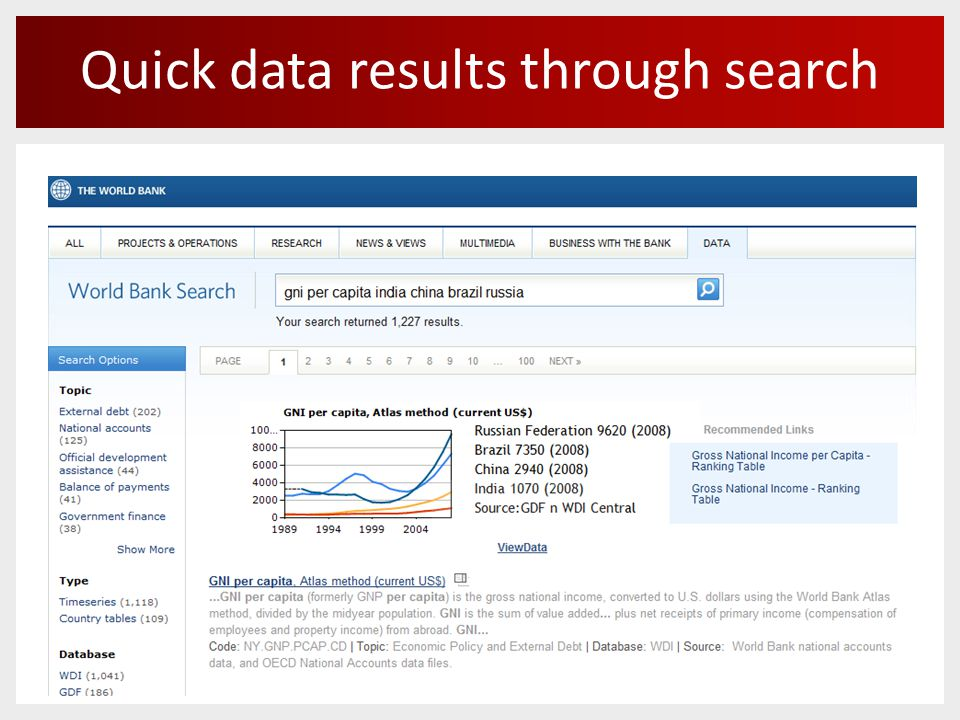 Quick data results through search