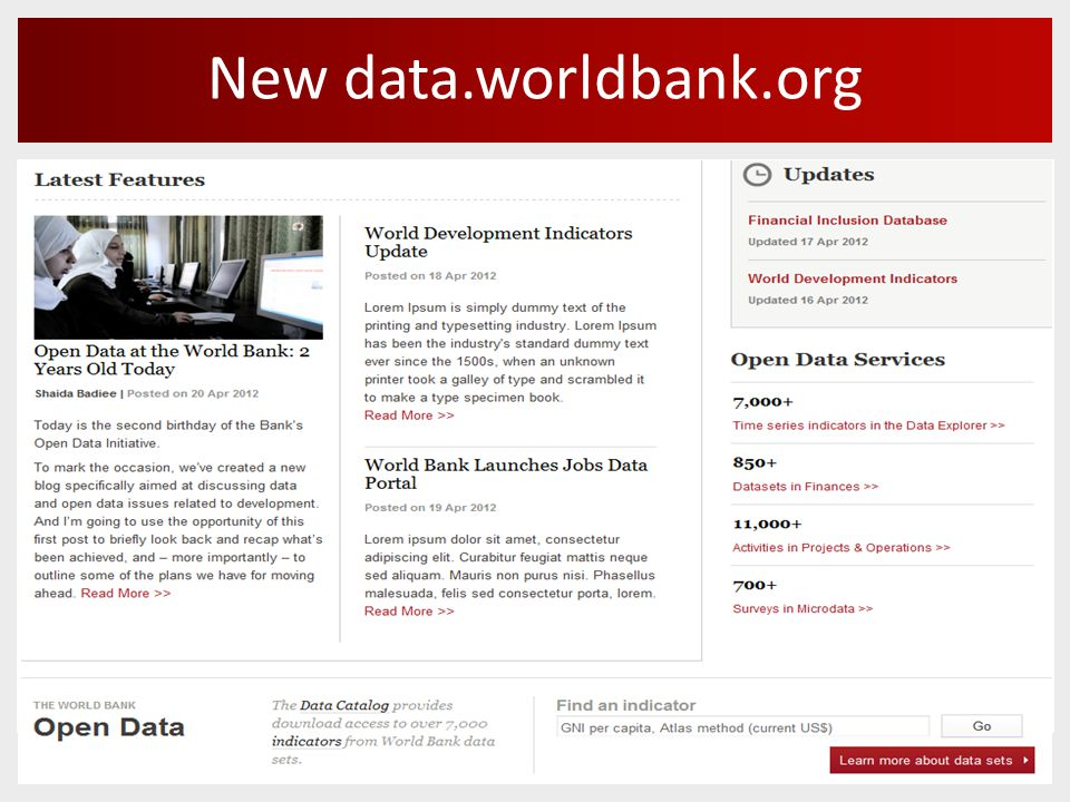 New data.worldbank.org